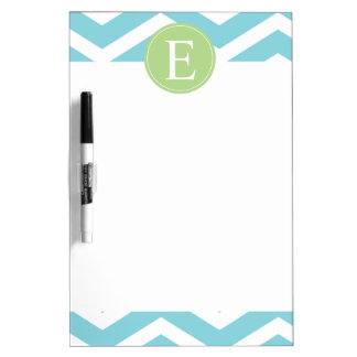 Blue Green Chevron Monogram Dry Erase Board
