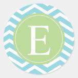 Blue Green Chevron Monogram Round Sticker