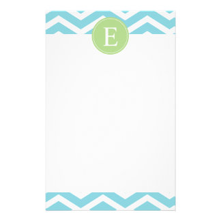 Blue Green Chevron Monogram Stationery