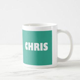 Blue-green Chris name Coffee Mug