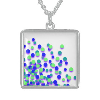 Blue Green Circle Silver Square Necklace