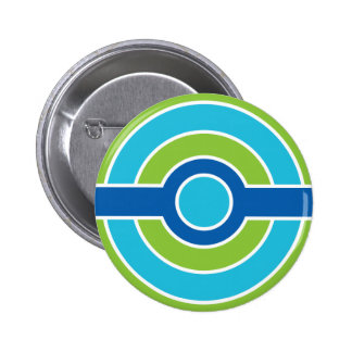 Blue / Green circles button, customizable 6 Cm Round Badge