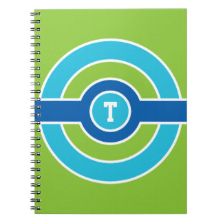 Blue / Green Circles custom monogram notebook