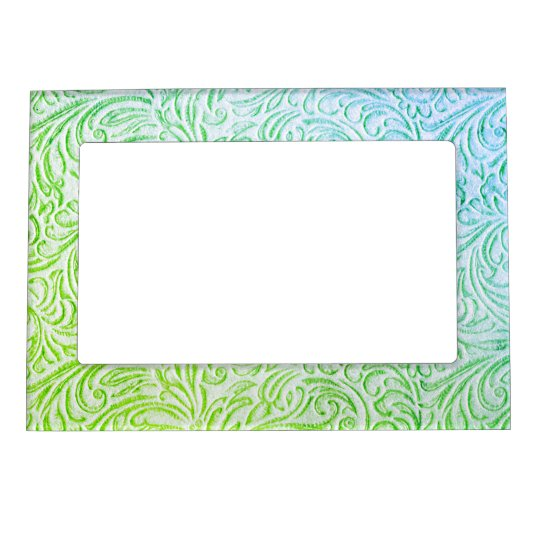Blue Green Colour Vintage Floral Scrollwork Magnetic Picture Frame