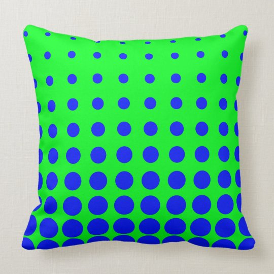 Blue & Green Colourful Vector abstract dot Throw Pillow