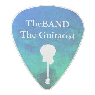 blue & green cool pick with guitarist name acetal guitar pick