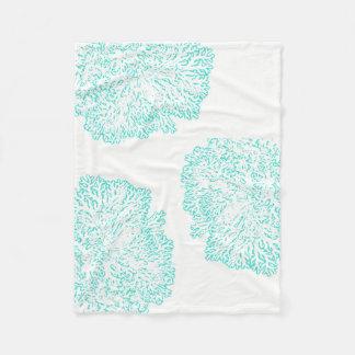 blue green coral pattern fleece blanket