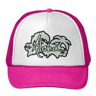 Blue-Green & Cream Floral; Aloha Trucker Hat