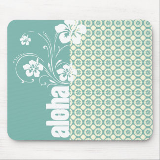 Blue-Green Cream Floral Aloha Mouse Pad