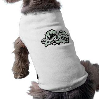 Blue-Green & Cream Floral; Aloha Sleeveless Dog Shirt