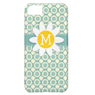 Blue-Green & Cream Floral; Daisy Case For iPhone 5C