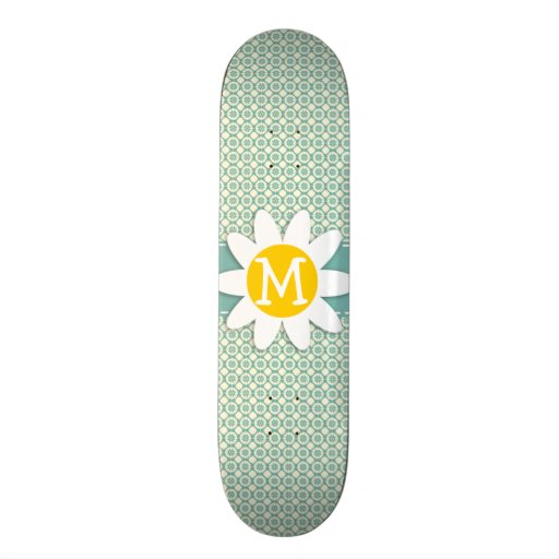 Blue-Green & Cream Floral; Daisy Skate Board Decks