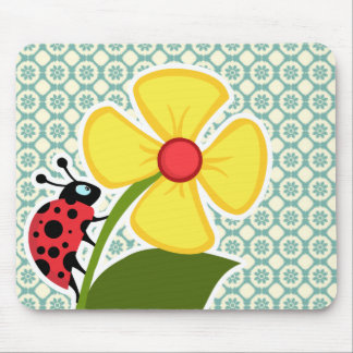 Blue-Green & Cream Floral; Ladybug Mouse Pad