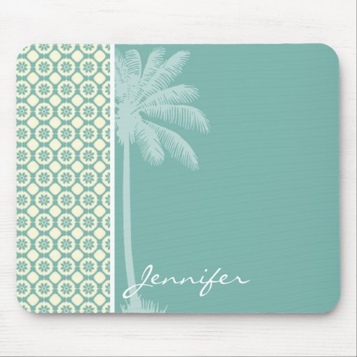 Blue-Green & Cream Floral Mouse Pads