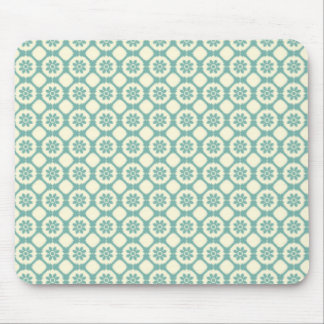Blue-Green Cream Floral Pattern Mouse Pads
