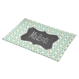 Blue-Green & Cream Floral; Vintage Chalkboard Placemat