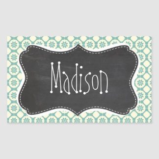 Blue-Green & Cream Floral; Vintage Chalkboard Rectangular Sticker