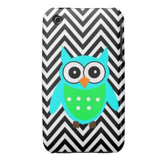 Blue Green Cute Owl Black Chevron Pattern Case-Mate iPhone 3 Cases