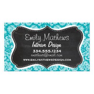 Blue-Green Damask Pattern; Retro Chalkboard Business Card Templates