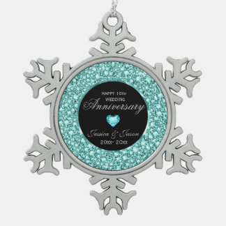 Blue-Green Diamonds Glitter 10th Anniversary Pewter Snowflake Decoration
