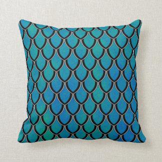 Blue Green Dragon Scale Watercolor Wash Pillow Throw Cushion