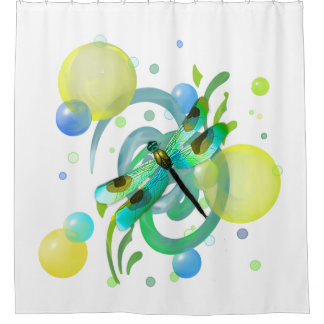 Blue Green Dragonfly Shower Curtain