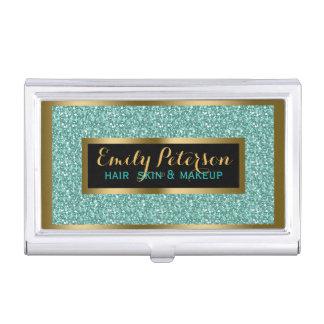 Blue- Green Fax Glitter Gold Accents Makeup Business Card Holder
