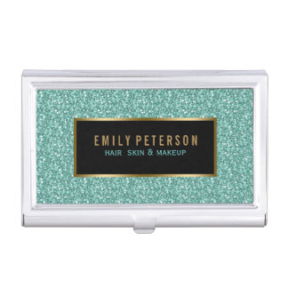 Blue- Green Fax Glitter With Black & Gold Accents Business Card Holder
