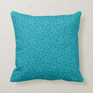 Blue-green floral design throw pillow