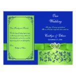 Blue, Green Floral Hearts Wedding Program Personalised Flyer