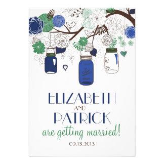 Blue Green Floral Mason Jars Wedding Invitation