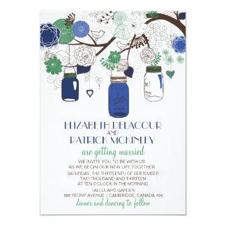 Blue & Green Floral Mason Jars Wedding Invitation