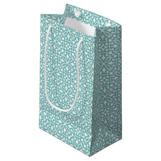 Blue green floral ornament - Gift Bag
