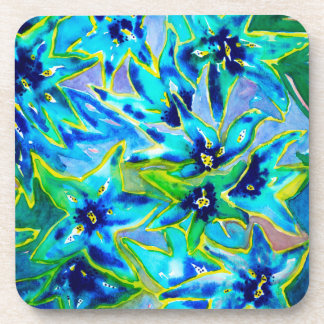 Blue Green Floral Watercolour Drink Coasters (six)