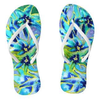 Blue Green Floral Watercolour Flip Flops Thongs
