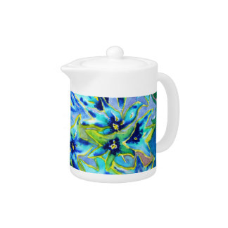 Blue Green Floral Watercolour Tea Pot