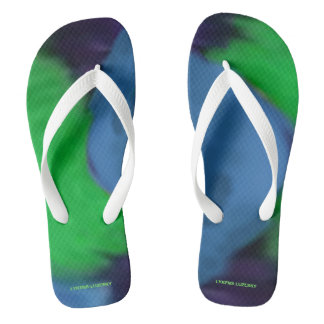 blue green fluffs flip flops