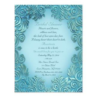 Blue-Green Foil Bridal Shower Invitation