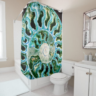 Blue Green Fossil Geode Shower Curtain