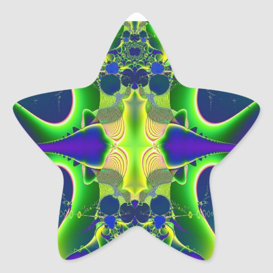 Blue green fractal star sticker