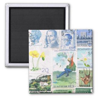 Blue Green Fridge Magnet Parachutist Postage Stamp