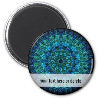 Blue Green Gems kaleidoscope Magnet