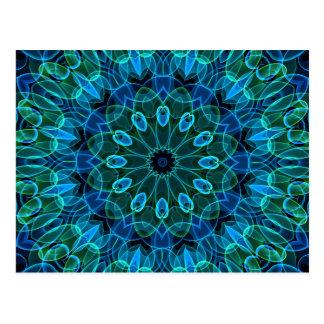 Blue Green Gems kaleidoscope Postcard