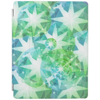 Blue Green Gemstone Compass Rhinestone Bling Look iPad Cover