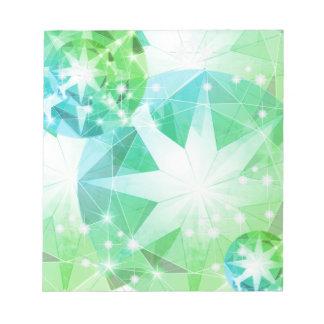 Blue Green Gemstone Compass Rhinestone Bling Look Notepad