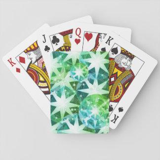 Blue Green Gemstone Compass Rhinestone Bling Look Poker Deck