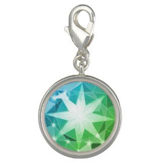 Blue Green Gemstone Compass Rhinestone Look