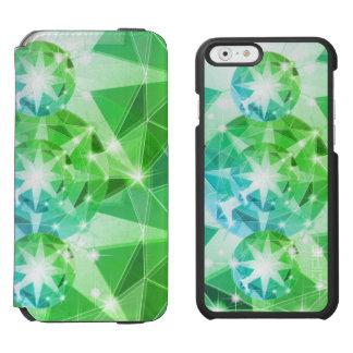 Blue Green Gemstone Compass Rhinestone Look Incipio Watson™ iPhone 6 Wallet Case