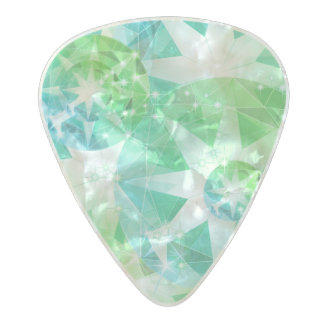 Blue Green Gemstone Compass Rhinestone Look Pearl Celluloid Guitar Pick