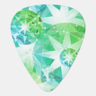Blue Green Gemstone Compass Rhinestone Look Plectrum